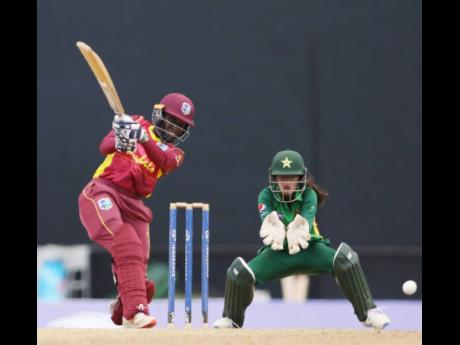 West Indies Women's batswoman Kyshona Knight in action against Pakistan Women in their fourth One-Day International, played at the Sir Vivian Richards Stadium in North Sound, Antigua, yesterday.