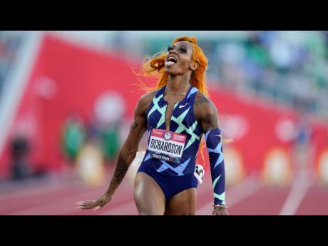 Sha'Carri Richardson  celebrates after winning the women's 100-metre run at the US Olympic Track and Field Trials. Richardson will miss Tokyo Olympics due to a 30-day suspension after she tested positive for THC, the intoxicant found in marijuana.