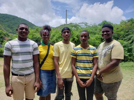Teachers of the Yallahs summer school programme: (from left) Garret Lake, Nashoy Williams, Jaheim Brown, Roshaun Martin, and Shemar Wilson.