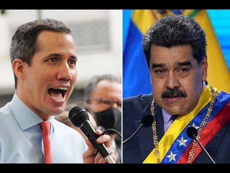 Leader of Venezuela's National Assembly Juan Guaidó (left) and and Venezuelan President Nicolás Maduro.