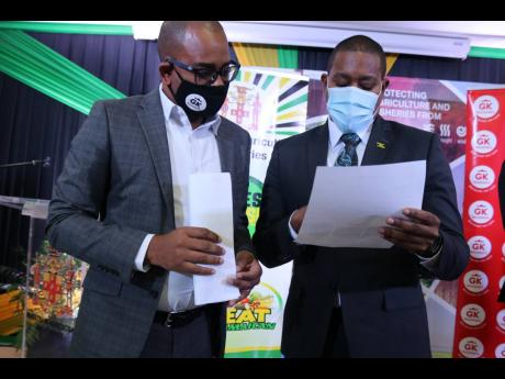 Minister of Agriculture and Fisheries Floyd Green (right) peruses an application form with Jordon Tait, assistant general manager of GK Insurance, at the launch of GK Weather Protect, a crop insurance policy developed specifically for farmers and fishers.