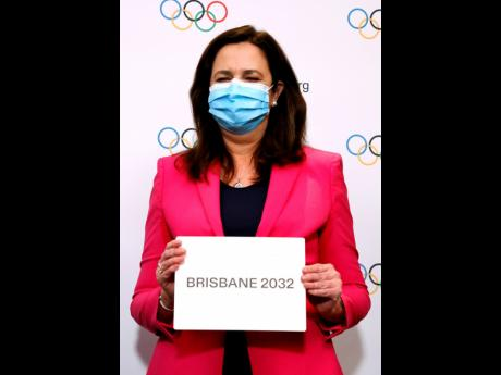 The Honourable Annastacia Palaszczuk, MP, celebrates after Brisbane was announced as the 2032 Summer Olympics host city during the IOC Session at Hotel Okura in Tokyo, on Wednesday, July 21, 2021.