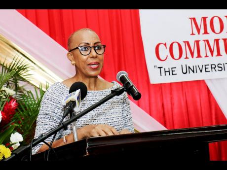 Fayval Williams, minister of education, youth and information, addresses the audience at the Outstanding Achievement Awards 2019-2021 at the Montego Bay Community College recently.