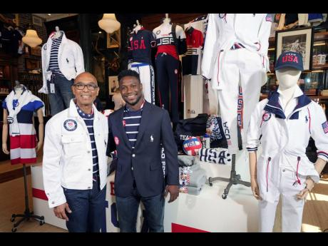 Olympic medallists in fencing, Peter Westbrook (left) and Daryl Homer, model the Team USA Tokyo Olympic opening ceremony uniforms at the Ralph Lauren SoHo store in New York yesterday.