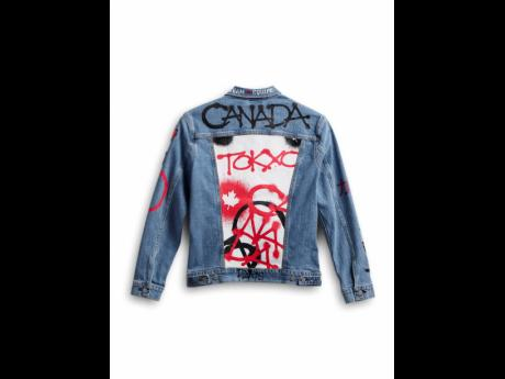 Left: This image provided by Hudson's Bay shows Team Canada's denim jacket to be worn by athletes in the closing ceremony of the Tokyo Olympics.
