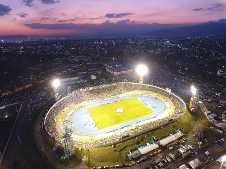 Aerial view of the National Stadium in Kingston.