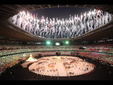 A pyrotechnic display during the opening ceremony at the Tokyo 2020 Olympics held at the Olympic Stadium in Tokyo, Japan on Friday, July 23, 2021.