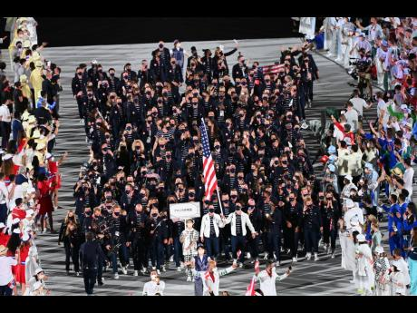 United States of America athletes participate in the athletes parade during the opening ceremony of the Tokyo 2020 Olympics held at the Olympic Stadium in Tokyo, Japan on Friday, July 23, 2021