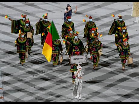 The colourful Cameroonian team at the opening ceremony of the Tokyo 2021 Olympics held at the Olympic Stadium in Tokyo, Japan on Friday, July 23, 2021.