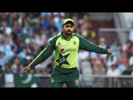 Pakistan captain Babar Azam during the third T20 international cricket match between England and Pakistan at Old Trafford cricket ground in Manchester, England, on Tuesday, July 20.