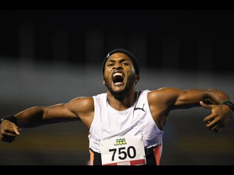 Jaheel Hyde celebrates his win in the men's 400m hurdles final at the 2021 JAAA National Junior and Senior Championships at the National Stadium on Friday, June 25.