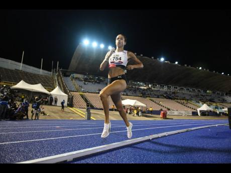 Aisha Praught-Leer competing in the women's 1500m finals at the JAAA National Junior and Senior Championships at the National Stadium on Friday, June 25.