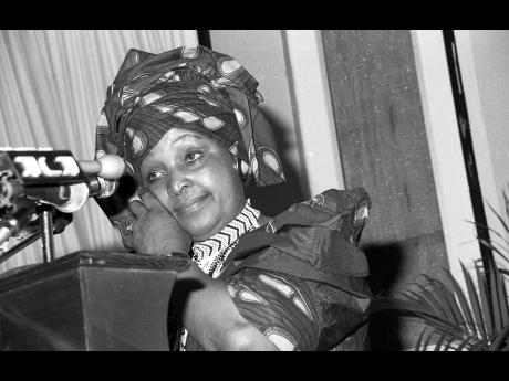 Mrs Winnie Mandela broke down in tears of joy at the luncheon put on by the Women's Bureau at The Jamaica Pegasus hotel on July 24, 1991.