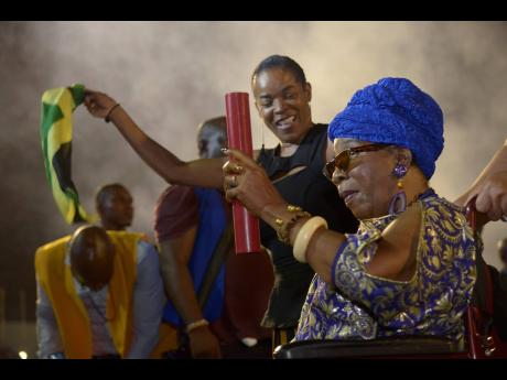 Rita Marley moments after receiving a citation from the Government for her contribution to music, during the August 2019 Grand Gala event.