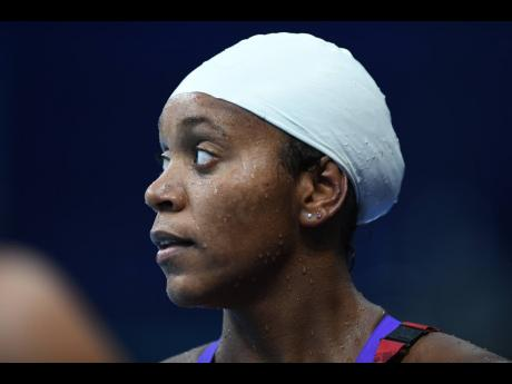 Jamaica's Alia Atkinson after competing in the Women's 100m Breaststroke event at the Olympic Games in Tokyo, Japan, on Sunday.