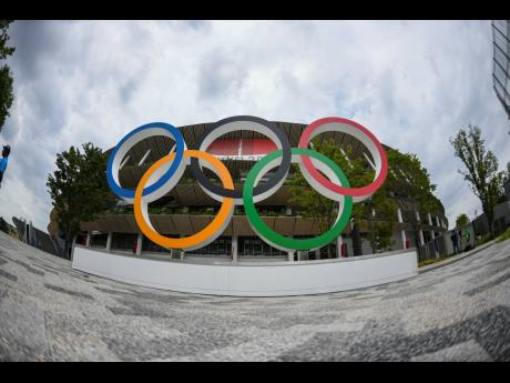 The Olympic Rings by the Tokyo Olympic Stadium in Shinjuku, Tokyo, Japan, on Monday.
