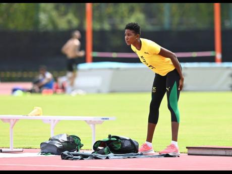 National triple jump champion Shanieka Ricketts during a training session at the warm up track at the Olympic Stadium in Tokyo, Japan on Monday.