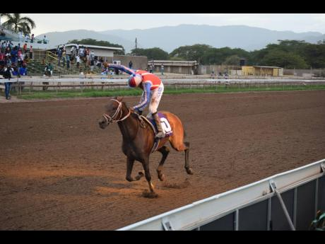 Calculus, ridden by Shane Ellis, wins the 95th running of the Jamaica St Leger at Caymanas Park in St Catherine on Saturday, July 3.