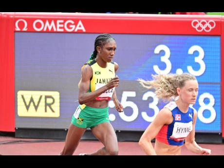 Jamaica's Natoya Goule competing in the Women's 800m event at the Tokyo 2020 Olympics at the Tokyo Olympic Stadium in Tokyo, Japan on Friday, July 30, 2021.
