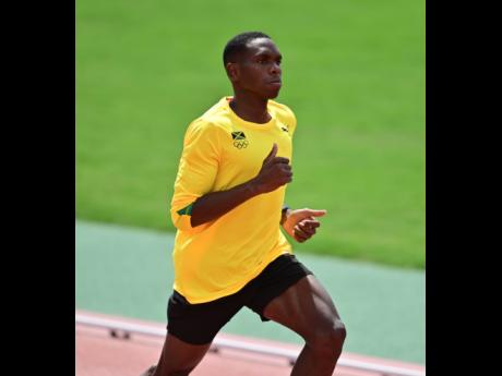 Jamaica's Nathon Allen runs during a training session at the Edogawa City Athletic Stadium in Tokyo, Japan, yesterday.