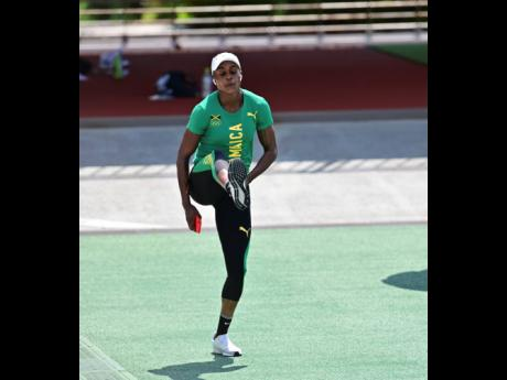 Jamaica's Elaine Thompson-Herah goes through her paces during a training session at the Edogawa City Athletic Stadium in Tokyo, Japan, on Thursday. She is the defending champion in the 100m and 200m.