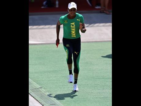 Jamaica's Elaine Thompson-Herah  trains at the Edogawa City Athletic Stadium in Tokyo, Japan, yesterday.