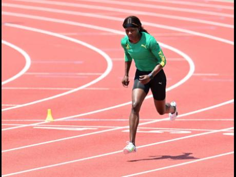 Sprinter Shericka Jackson gets ready for action on the track.