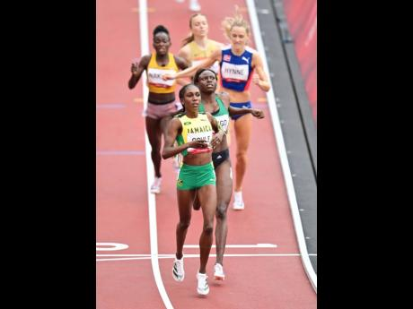 Jamaica's Natoya Goule walks across the finish line as she cruises to an easy victory in the women's 800 metres event at the Tokyo 2020 Olympics, at the Tokyo Olympic Stadium in Tokyo, Japan.