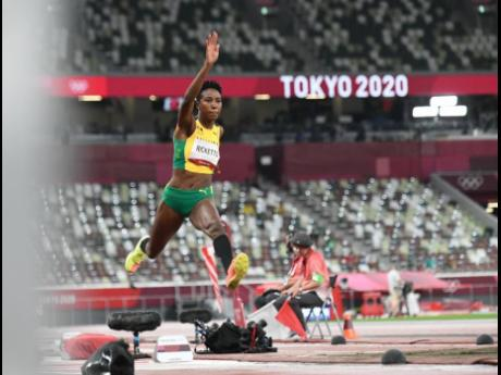 Jamaica's Shanieka Ricketts in action in the Women's Triple Jump during the Tokyo Olympic Games at the Tokyo Olympic Stadium in Tokyo, Japan on Friday.