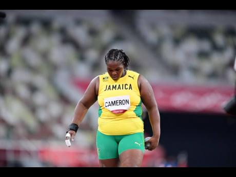 Jamaica's Lloydricia Cameron in action in the Women's Shot Put event at the Tokyo Olympic Games in Tokyo, Japan on Friday.
