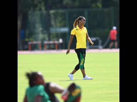 Briana Williams at the Jamaica team training at the Tokyo Olympic Stadium warm-up track on Monday.