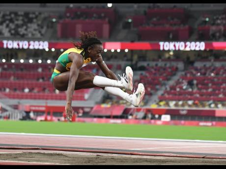 Kimberly Williams competing in the women's triple jump event at the Tokyo 2020 Olympics yesterday.