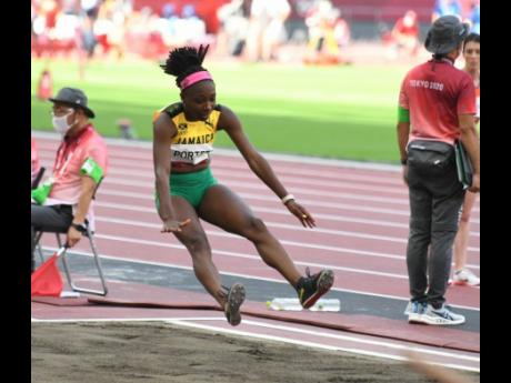 Jamaican long jumper Chanice Porter in action in the Women's Long Jump qualifying round at the Tokyo Olympic Games in Tokyo, Japan on Sunday, August 1.