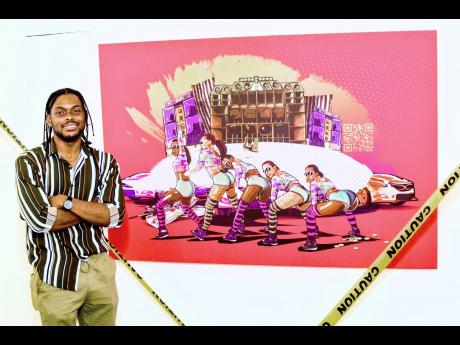 The man behind this revolutionary 3D exhibit, Bonito 'Don Dada' Thompson stands proudly beside his creations, 'Gyal Segment'.