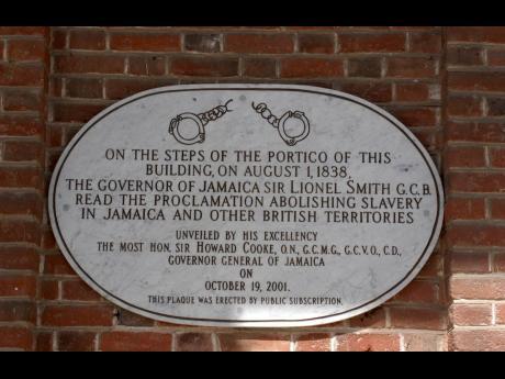 The plaque with proclamation of Emancipation abolishing slavery in Jamaica at the steps of King's House.