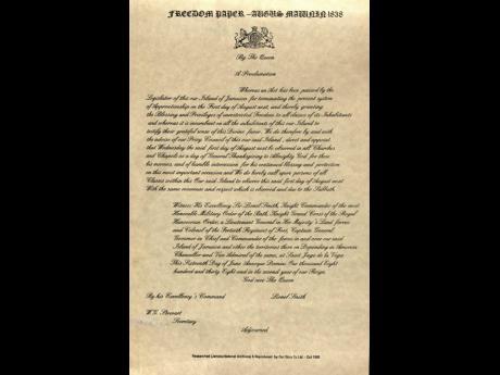 The Emancipation Proclamation of 1838.