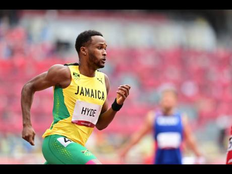 Jamaica's Jaheel Hyde competing in the men's 400m hurdles event at the Tokyo 2020 Olympics at the Tokyo Olympic Stadium in Tokyo, Japan, on Friday.