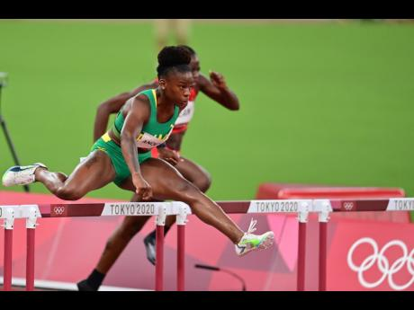 Jamaica's Britany Anderson in action during the Women's 100m hurdles semi-final at the Tokyo Olympic Games in Tokyo, Japan on Sunday morning.