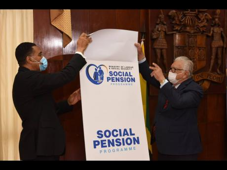 Prime Minister Andrew Holness (left) and Minister of Labour and Social Security Karl Samuda unveil the logo for the Government's newly launched $800-million Social Pension Programme, during a virtual ceremony from Jamaica House last Friday.