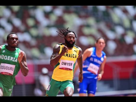 Jamaica's Rasheed Dywer in action during the Men's 200m Round 1 Heats at the Tokyo Olympic Games in Tokyo, Japan on Tuesday morning.