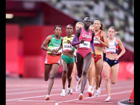 The USA's Athing Mu (centre), ahead of Jamaica's Natoya Goule (second left) during the Women's 800m final at the Tokyo Olympic Games in Tokyo, Japan on Tuesday.