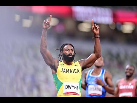 Jamaica's Rasheed Dwyer celebrates after winning his semi-final in the Men's 200m event at the Tokyo Olympic Games in Tokyo, Japan on Tuesday.