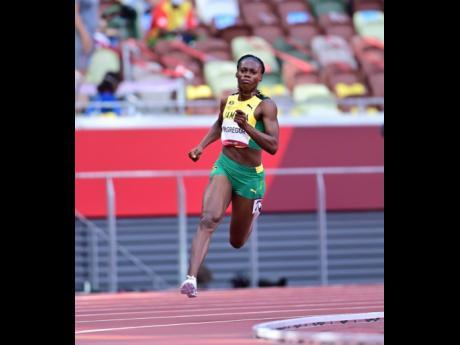 Roneisha McGregor competing in the women's 400-metre heats yesterday.