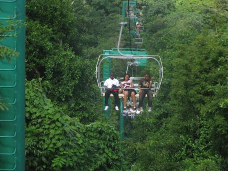 Persons on a ride at Mystic Mountain.