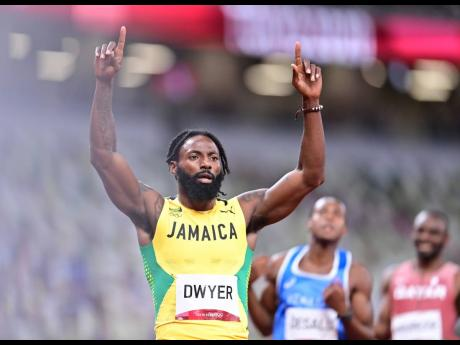 Rasheed Dwyer celebrates making men's 200 metres final at the Tokyo 2020 Olympic Games after yesterday's semi-final at the Tokyo Olympic Stadium in Tokyo, Japan.