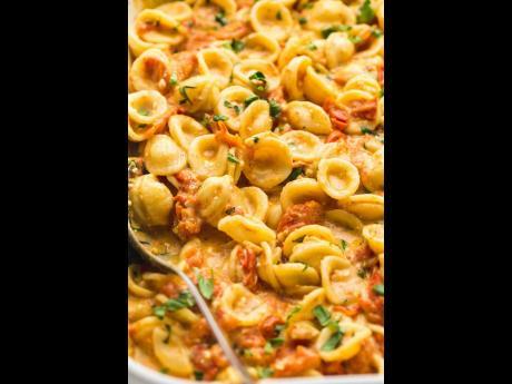 Feta garlic olive oil pasta.