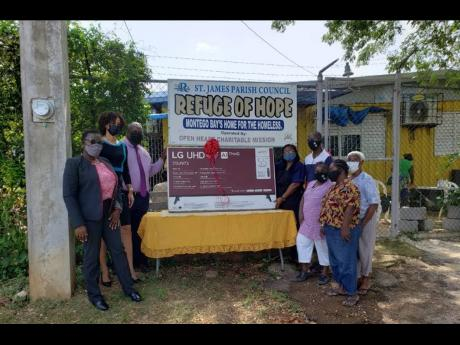 CIBC FirstCaribbean, through its Adopt-A-Cause programme, recently made a donation to the Refuge of Hope homeless shelter in Montego Bay, St James.  Here,  bank executives (at left) Dawnlyn Warren, customer service manager, retail & business banking; Mesha