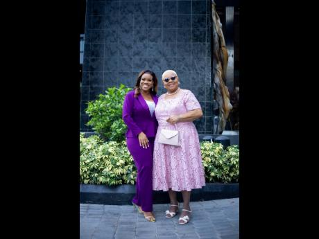 Khadine 'Miss Kitty' Hylton (left), and her mom, Marjorie, at the recent Govenor General Achievement Awards.