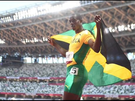 Hansle Parchment, Jamaica's Men's 110m Hurdles Olympic champion moments after the final at the Olympic Stadium in Tokyo, Japan, on Thursday.Hansle Parchment, Jamaica's Men's 110m Hurdles Olympic champion moments after the final at the Olympic Stadi