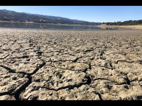 An exposed dry bed is seen at Lake Mendocino near Ukiah, California, on Wednesday, August 4.